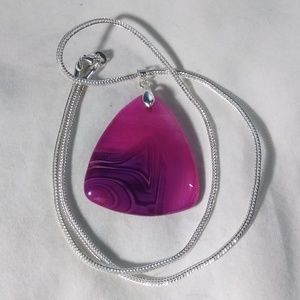 "Jewelry - Pink with Veins Agate 925 Silver Plated 18"" Chain"